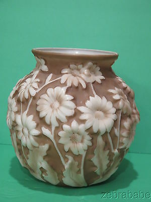 Vintage Consolidated Phoenix Glass Vase Brown White Daisy