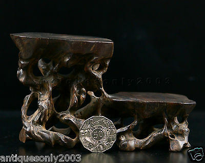 Old Chinese Wood Carved Vase Bowl Jade Stand Base Display Rosewood Hardwood #1