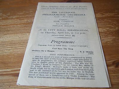 Liverpool Philharmonic Orchestra Concert At  Birmingham City Hall - Wartime Vgc