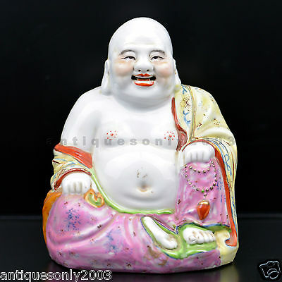 Vintage Chinese Porcelain Laughing Buddha Marked Jingdezhen Made In China 1970s