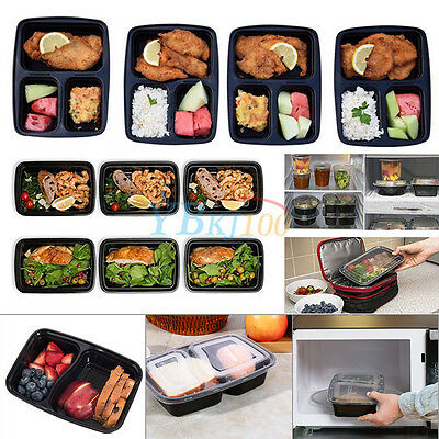 10x Freezer Microwavable Meal Prep Containers Food Storage Boxes Keep