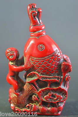 Decorated Collectible Old Coral Carve Lotus Fish Child Auspicious Snuff Bottle