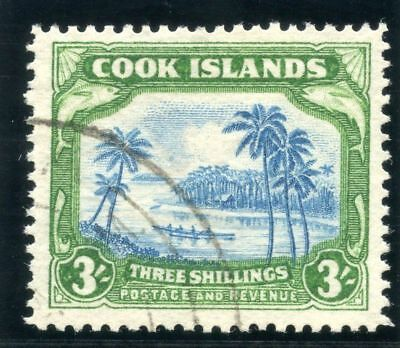 Cook Islands 1938 KGVI 3s light blue & emerald-green VF used. SG 129. Sc 114.