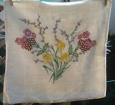 Vintage Linen Embroidered Floral Flowers Cushion Shabby Chic Vintage Home