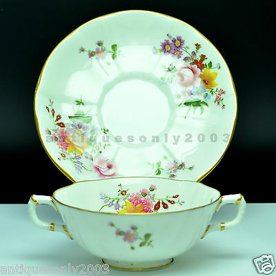 Royal Crown Derby Posies Bone China Cream Soup Cup Bowl & Saucer 1st Quality