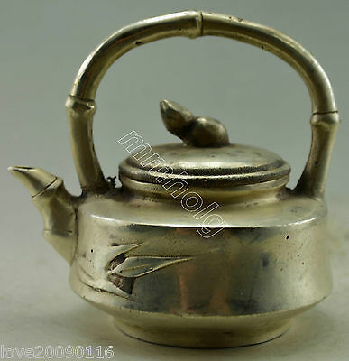 Collectible Decorated Old Handwork Silver Plate Copper Carved Bamboo Tea Pot