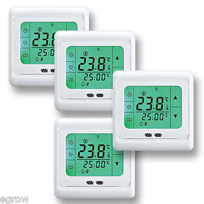 4x digital touch raumthermostat temperaturregler fu bodenheizung wandheizung lcd eur 95 99. Black Bedroom Furniture Sets. Home Design Ideas