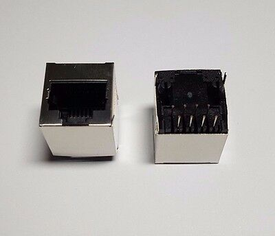 RJ45 Network Jack socket Metal PCB - Silver / Black x 2 - 8-Pin Rear Mount