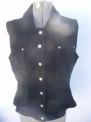 Womens HARLEY DAVIDSON Black Suede Leather  Vest Size extra- large Silver Snaps