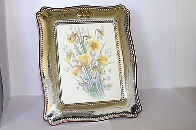 ANTIQUE LARGE SIZE SOLID SILVER & WOOD 50th PHOTO FRAME GC