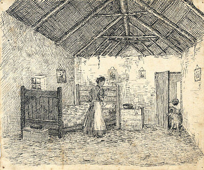 19th Century Pen and Ink Drawing - Woman in a Farmhouse Bedroom