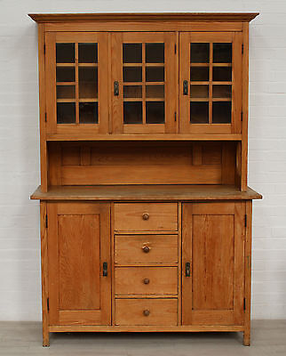 Antique Pitch Pine Dutch Dresser - Very Solid, Unusual & Useful, In 2 Parts