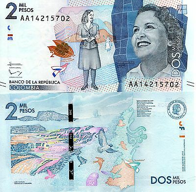 COLOMBIA 2000 Pesos Banknote World Paper Money UNC Currency Pick p-NEW 2016