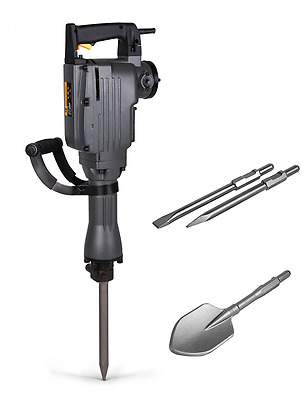 TR Industrial TR89100 Electric Demolition Jackhammer with 3 Bits Point, Flat, Sc