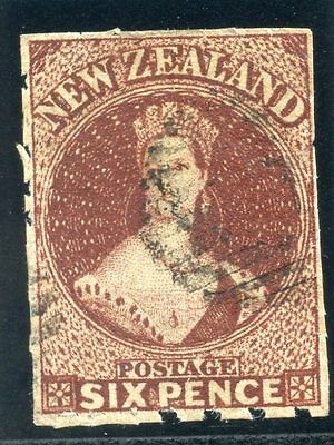 New Zealand 1857 QV 6d brown Rouletted 7 *VERY RARE* very fine used. SG 29.