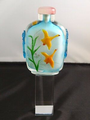 Unusual Chinese Glass Overlay Snuff Bottle, Interior Painted, Circa 20th Century