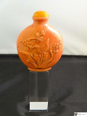 Antique Chinese Glass Snuff Bottle, Simulating Coral & Carved, Mid 19th Century