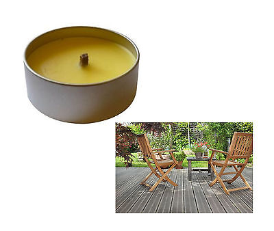 Citronella Open Candle in a Tin Summer Bugs BBQ Insect Repellent Garden PATIO