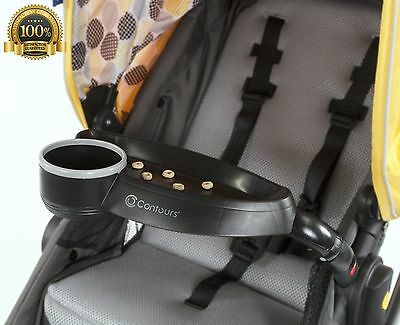 New Contours strollers Child Tray bottle Sippy Cup Holder Black Easy To Clean