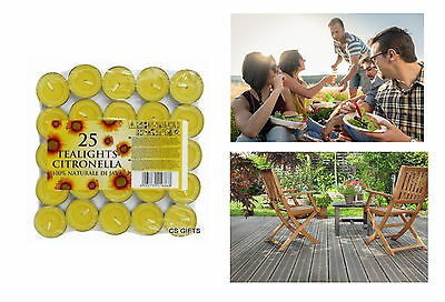 25 x Citronella Candles Tealights Summer Bugs BBQ Insect Repellent Garden PATIO