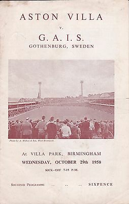 ASTON VILLA v GAIS GOTHENBURG (SWEDEN) ~ FRIENDLY ~ 29 OCTOBER 1958 (1)