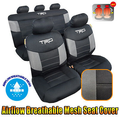 New Cool Mesh Car Seat Cover TRD Black Air Breathable 9pcs For Toyota Tacoma