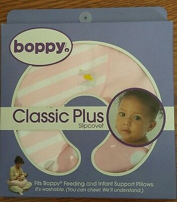 New Boppy Pillow Classic Plus Slipcover Polka Dot Stripes Pink and White cover