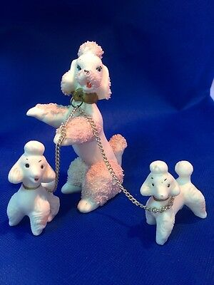 Vintage Pink Spaghetti Poodle With Two Puppies Porcelain Marked Japan