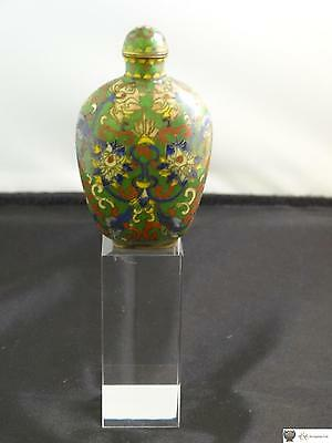 Antique Chinese Cloisonne Enamel Snuff Bottle, Decorated With Formal Lotus, 1900