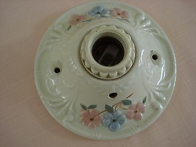 PORCELIER Antique Vintage Porcelain Ceiling Wall Light Fixture pink blue floral