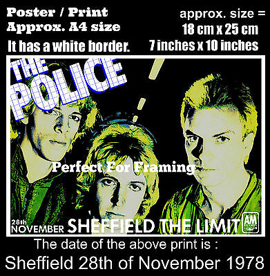 The Police live concert Limit Sheffield 28th November 1978 A4 size poster print