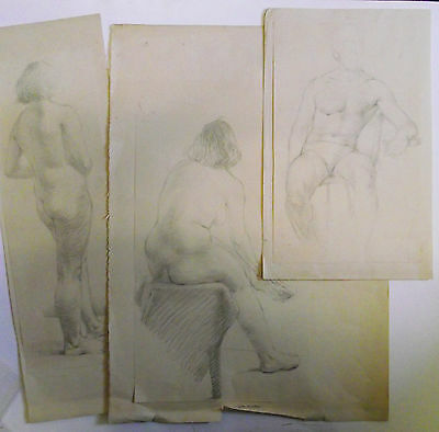 Collection Of Vintage 3 Original Nude Pencil Drawings 1950's