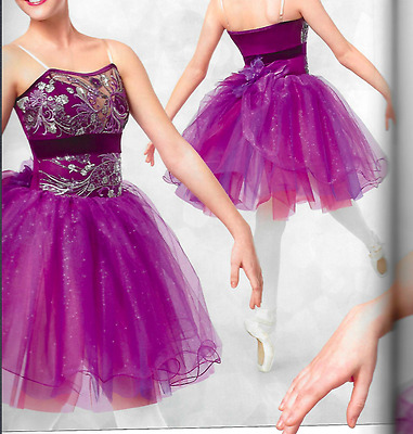 Purple Embroidered Sparkle Ballet Dance Tutu Dress Curtain Call Costume Adult M