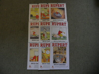 Collection of 9 Rupert Calendars. by Author Not Stated