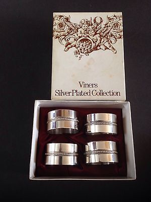 4 Vintage Viners Silver Plate Napkin Rings - Boxed