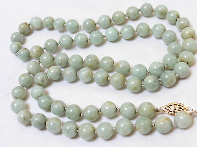 CHINESE VINTAGE GREEN JADE 8mm BEADS NECKLACE 14KGF CLASP, 66 grams