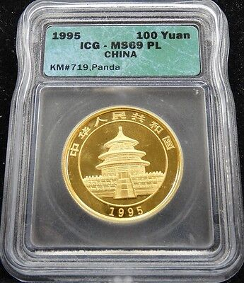 1995 GOLD 1oz PANDA ICG MS69 PROOF LIKE 100 YUAN KM#719 CHINA