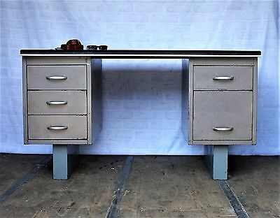 1950s Vintage Metal Tanker Desk - Industrial Style - Home Office / Study