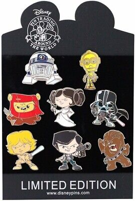 "Star Wars ""Cute"" Disney Authentic Trading Pin Set - 8 Total LE Pins - Brand NEW"