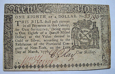 New York Colonial Currency - 1/8 Dollar - NY185