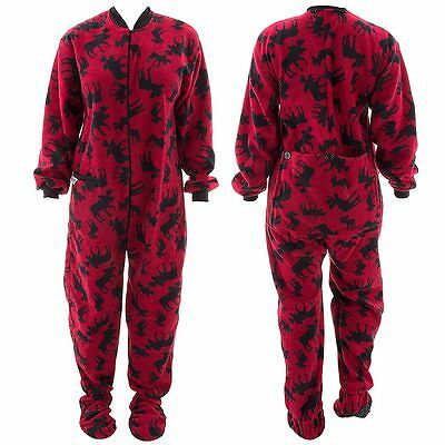 NEW One-Piece Footed Red Classic Moose Pajamas for Adults Fleece Size Medium