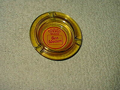 Vintage Amber Glass Best Western Motel Hotel Cigarette Ashtray