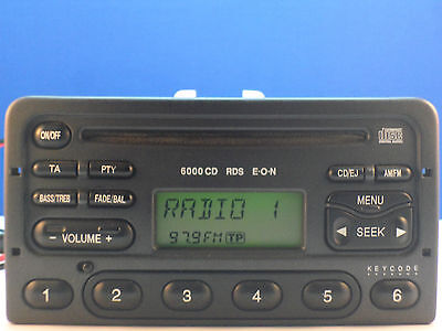 Ford 6000 Cd Player Stereo Radio Coded Transit Mondeo Escort Fiesta Focus