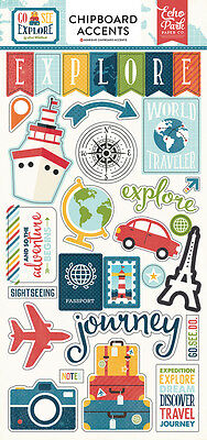 Echo Park Go See Explore Travel (1) Pack Chipboard Sticker Embellishments