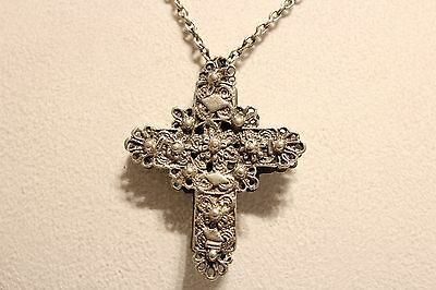 Antique Rare Relief Hand Made Men's Big 55Mm Silver Christian Cross With Chain