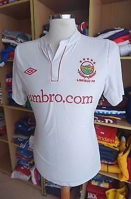 Shirt Linfield FC 2012/13 (M) Away Umbro White Shirt Northern Ireland Trikot