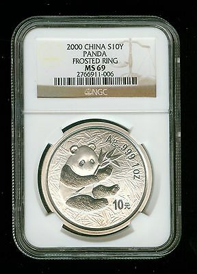 Rare Date NGC MS69 2000 10 Yuan 1oz Silver Chinese Panda Coin Frosted Ring   C