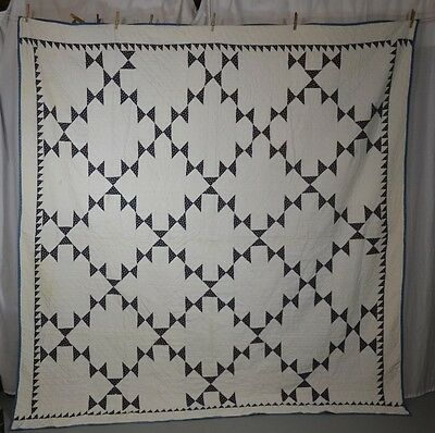 patchwork quilt blue white quilted hand stitched  78 x 82 American  antique