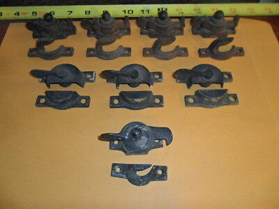 Lot of 8 Vintage Brass Window Locks and Catches