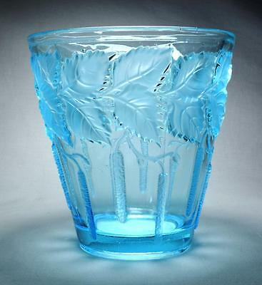 Art Deco Glass Vase by Barolac/Josef Inwald Catkins and Leaves Pattern